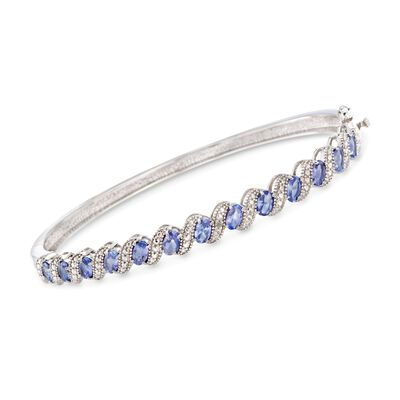 1.90 ct. t.w. Tanzanite Bangle Bracelet with Diamond Accents in Sterling Silver