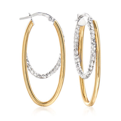 Italian 14kt Two-Tone Gold Double Hoop Earrings