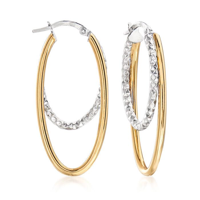 """Italian 14kt Two-Tone Gold Double Hoop Earrings. 1 3/8"""""""