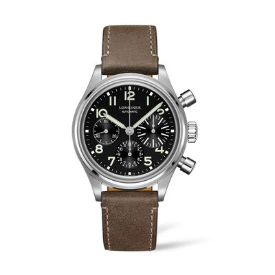 Longines Avigation Bigeye Men's 41mm Auto Chronograph Stainless Steel Watch with Brown Leather