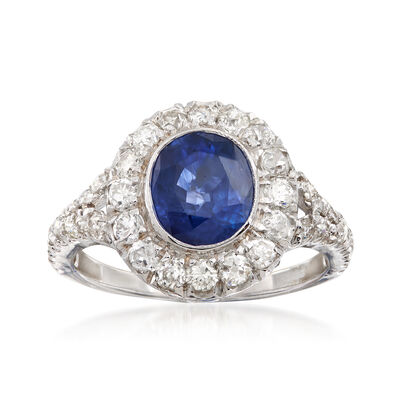 C. 1980 Vintage 2.09 Carat Sapphire and 1.35 ct. t.w. Diamond Ring in 18kt White Gold, , default