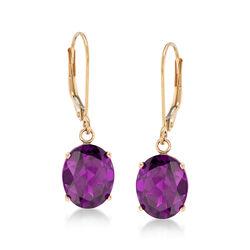 4.80 ct. t.w. Amethyst Drop Earrings in 14kt Yellow Gold, , default