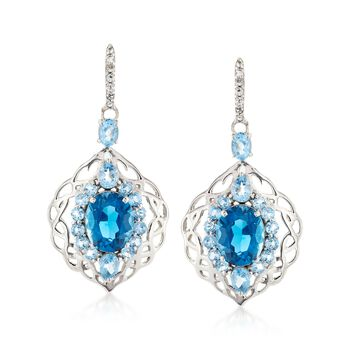 6.52 ct. t.w. London and Sky Blue Topaz With White Topaz Drop Earrings in Sterling Silver, , default