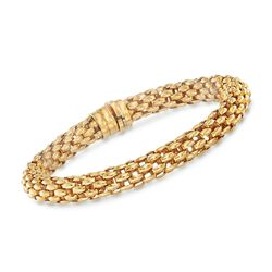 "Italian 18kt Yellow Gold Round Mesh Bracelet. 7.5"", , default"
