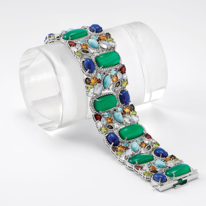 Green Chalcedony and Multi-Gem Bracelet in Sterling Silver