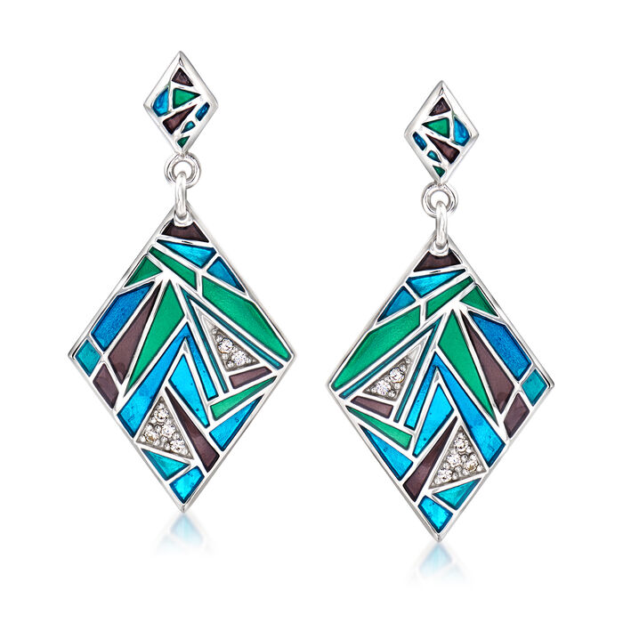 "Belle Etoile ""Chromatica"" Multicolored Enamel and .13 ct. t.w. CZ Drop Earrings in Sterling Silver"