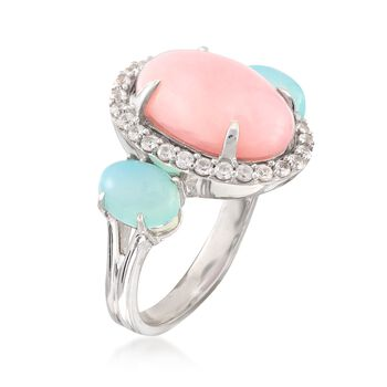 Pink Opal and Aqua Chalcedony Ring With .40 ct. t.w. White Zircons in Sterling Silver, , default