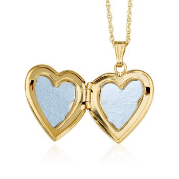 """14kt Yellow Gold Engraved Heart Locket Necklace. 18"""""""