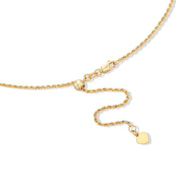 Italian 1.5mm 18kt Yellow Gold Adjustable-Slider Diamond-Cut Rope Chain Necklace, , default