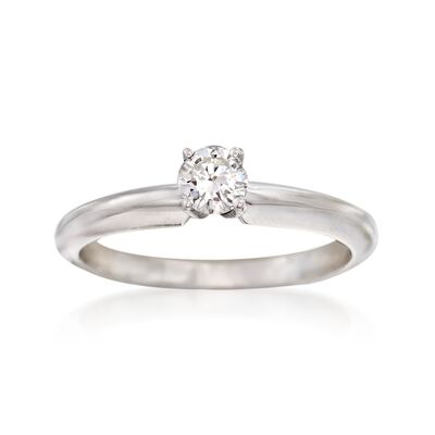 C. 2000 Vintage .27 Carat Diamond Solitaire Ring in 14kt White Gold, , default