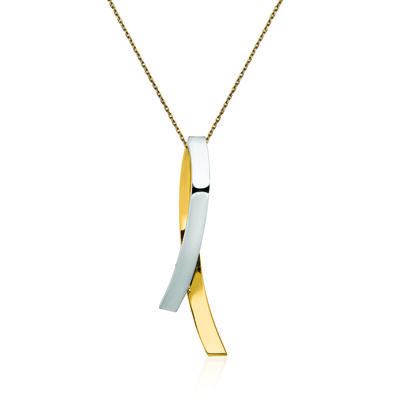 "14kt Two-Tone Gold Contemporary Breast Cancer Awareness Slide Pendant Necklace. 18"", , default"