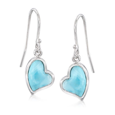 Larimar Heart Drop Earrings in Sterling Silver