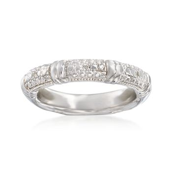 Sterling Silver Ring With Diamond Accents, , default