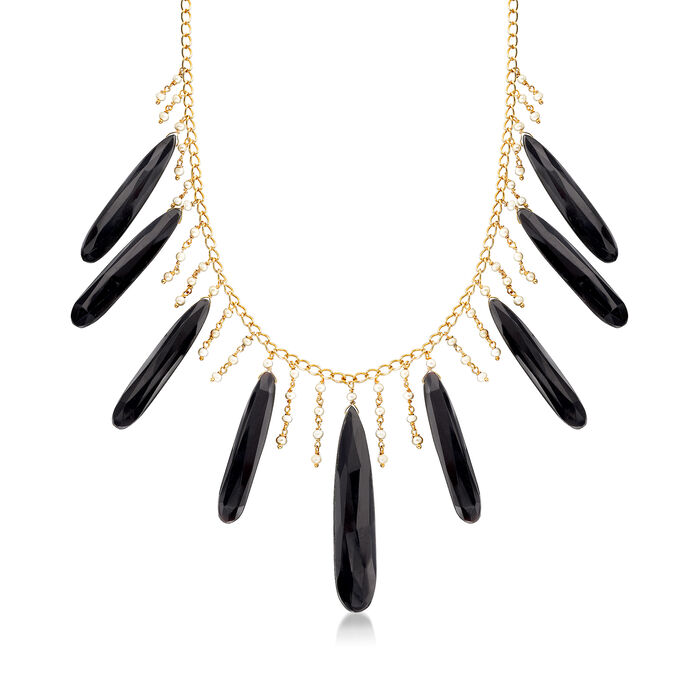 Cultured Pearl and Black Onyx Drop Necklace in 18kt Gold Over Sterling