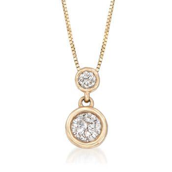 ".50 ct. t.w. Bezel-Set Diamond Necklace in 14kt Yellow Gold. 18"", , default"