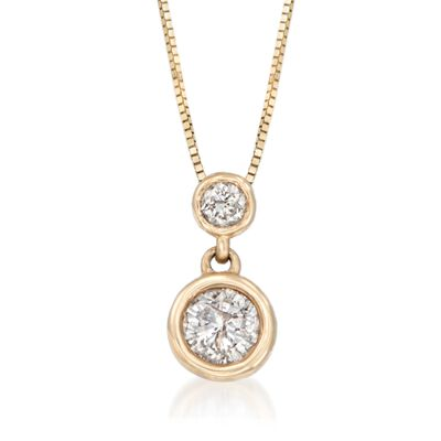 .50 ct. t.w. Bezel-Set Diamond Necklace in 14kt Yellow Gold, , default