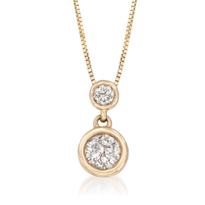".50 ct. t.w. Bezel-Set Diamond Necklace in 14kt Yellow Gold. 18"", , default"