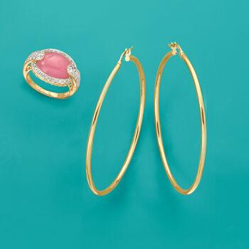 "Italian 2mm 18kt Yellow Gold Large Hoop Earrings. 2 1/8"", , default"