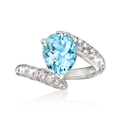 C. 1990 Vintage Chanel 2.25 Carat Aquamarine and .32 ct. t.w. Diamond Ring in 18kt White Gold