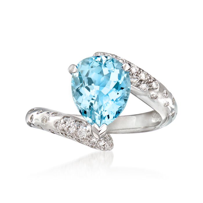 C. 1990 Vintage Chanel 2.25 Carat Aquamarine and .32 ct. t.w. Diamond Ring in 18kt White Gold. Size 5.75, , default