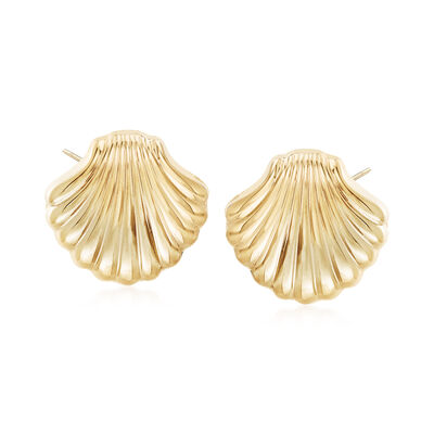 14kt Yellow Gold Scallop Seashell Motif Earrings, , default