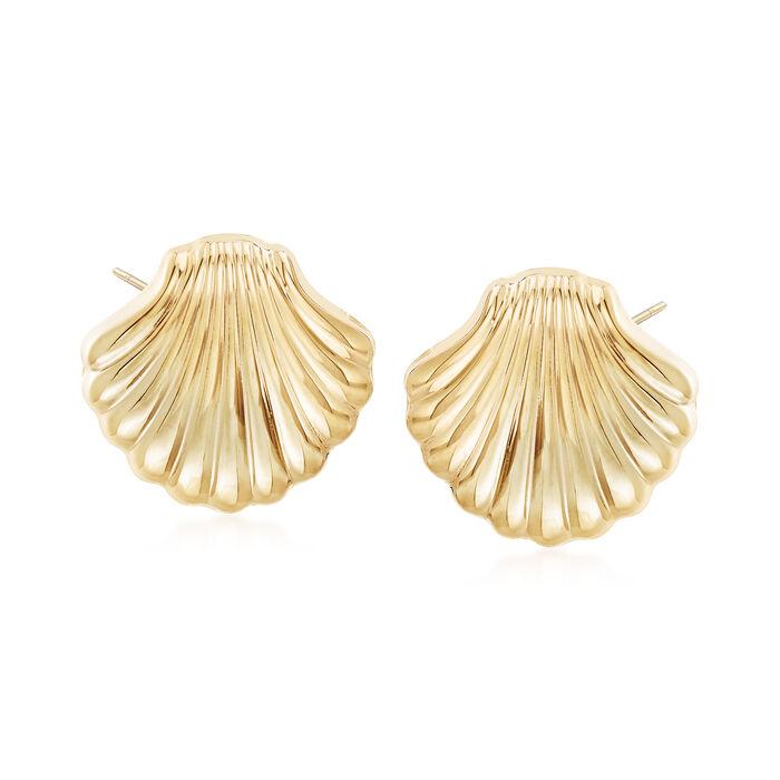 14kt Yellow Gold Scallop Seashell Motif Earrings, , default