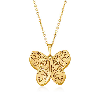 Italian 14kt Yellow Gold Butterfly Pendant Necklace