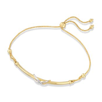 14kt Two-Tone Gold Infinity Symbol Bar Bolo Bracelet , , default