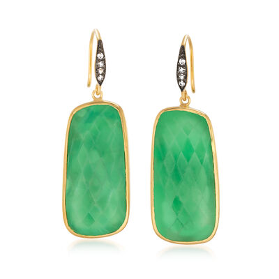 Green Chrysoprase and .10 ct. t.w. White Topaz Drop Earrings in 18kt Gold Over Sterling, , default