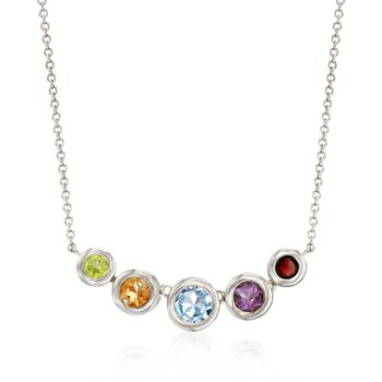 "2.40 ct. t.w. Bezel-Set Multi-Stone Necklace in Sterling Silver. 16"", , default"