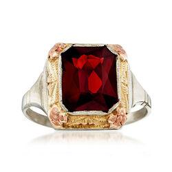 C. 1950 Vintage 3.70 Carat Garnet Ring in 14kt Tri-Color Gold, , default