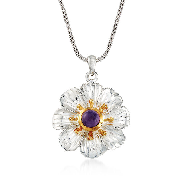 1.10 Carat Amethyst Floral Pendant Necklace in Two-Tone Sterling Silver