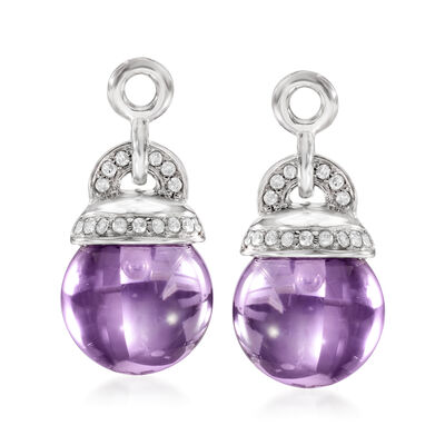 8.75 ct. t.w. Amethyst and .10 ct. t.w. Diamond Earring Jackets in Sterling Silver