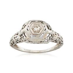 C. 1940 Old European Cut .06 Carat Diamond Ring in 14kt White Gold, , default
