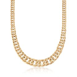 "Italian 18kt Yellow Gold Graduated Link Necklace With Texture and Polish. 20"", , default"