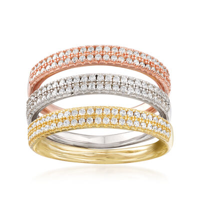 .80 ct. t.w. CZ Jewelry Set: Three Rings in Rose and Yellow 18kt Gold Over Sterling and Sterling Silver, , default