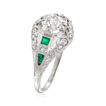C. 1940 Vintage 1.20 ct. t.w. Diamond and Emerald-Accented Ring in Platinum. Size 8