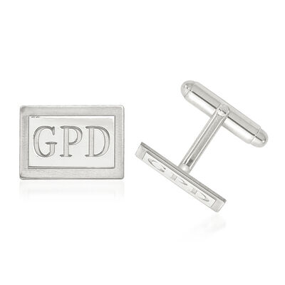 Sterling Silver Laser Design Recessed Letters Rectangle Monogram Cuff Links, , default