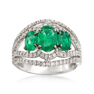 2.10 ct. t.w. Emerald and .83 ct. t.w. Diamond Ring in 18kt White Gold, , default