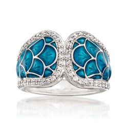 "Belle Etoile ""Marina"" Sea-Blue Enamel and .95 ct. t.w. CZ Ring in Sterling Silver, , default"
