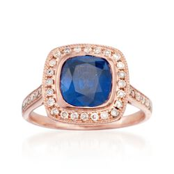 C. 2000 Vintage 3.15 Sapphire and .50 ct. t.w. Diamond Ring in 14kt Rose Gold. Size 6.5, , default