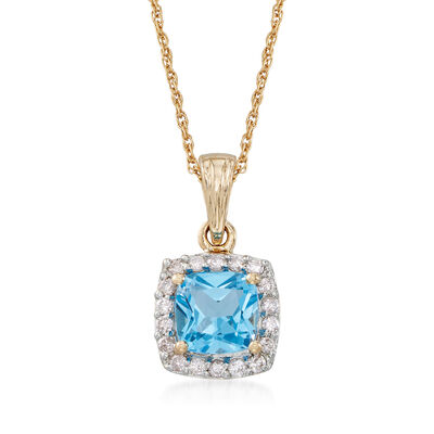 1.10 Carat Swiss Blue Topaz and .17 ct. t.w. Diamond Pendant Necklace in 14kt Yellow Gold, , default