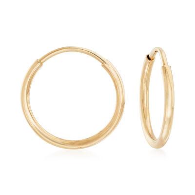 1mm 14kt Yellow Gold Endless Hoop Earrings, , default