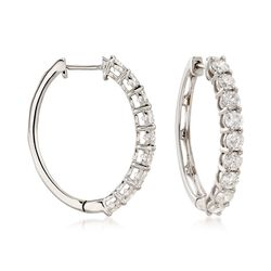 3.00 ct. t.w. Diamond Hoop Earrings in 14kt White Gold, , default