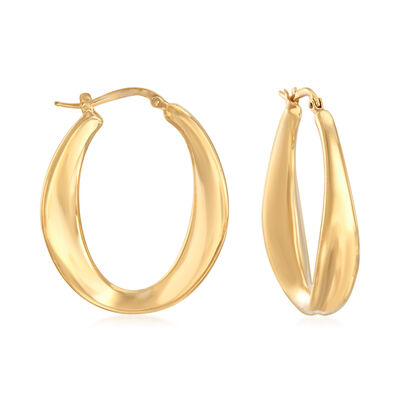 Italian 18kt Gold Over Sterling Oval Hoop Earrings, , default