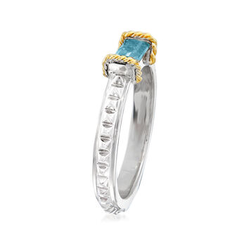 """Andrea Candela """"La Romana"""" .61 Carat Swiss Blue Topaz Ring in Sterling Silver and 18kt Yellow Gold. Size 7, , default"""