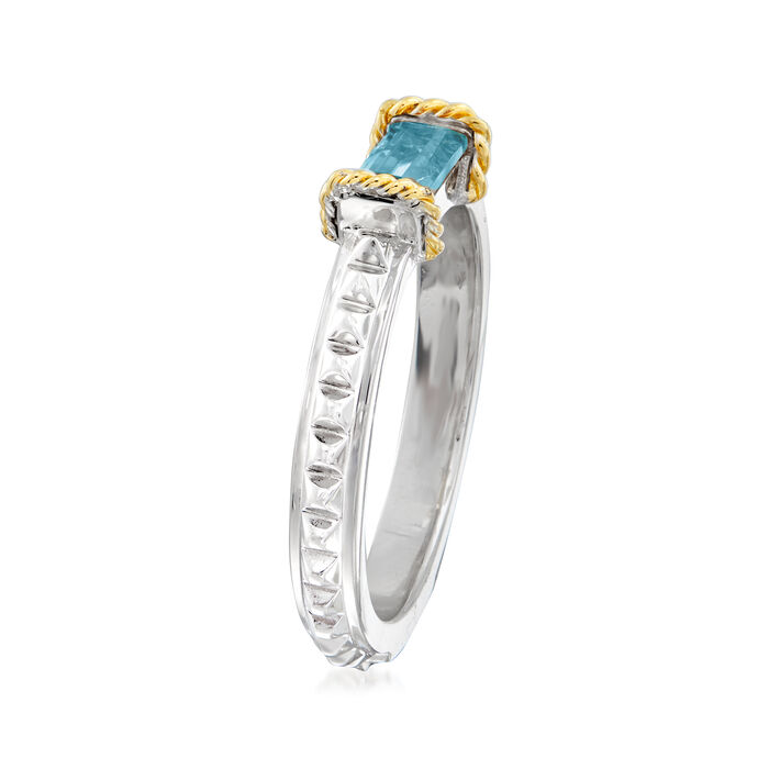 "Andrea Candela ""La Romana"" .61 Carat Swiss Blue Topaz Ring in Sterling Silver and 18kt Yellow Gold"
