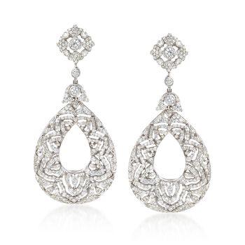 6.00 ct. t.w. Diamond Teardrop Earrings in 18kt White Gold, , default