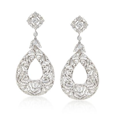 6.00 ct. t.w. Diamond Teardrop Earrings in 18kt White Gold, , default