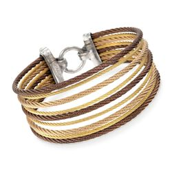 "ALOR ""Classique"" Tri-Colored Stainless Steel Multi-Cable Bracelet With 18kt Yellow Gold. 7"", , default"